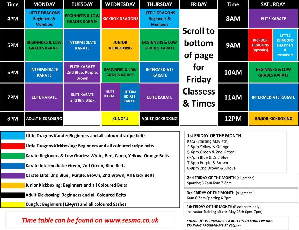 SESMA Martial Arts Norwich Timetable Karate kickboxing kungfu