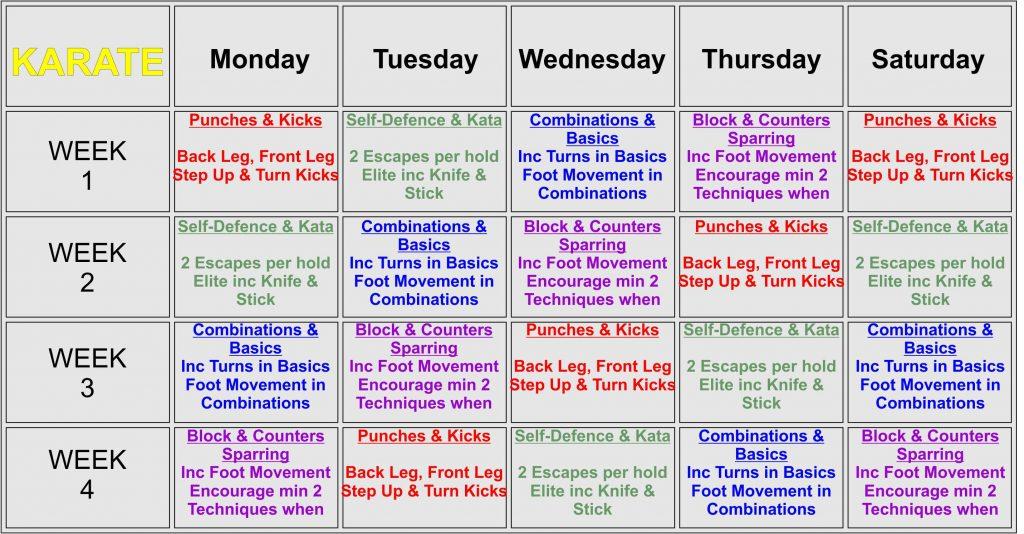 SESMA Teaching Timetable Karate