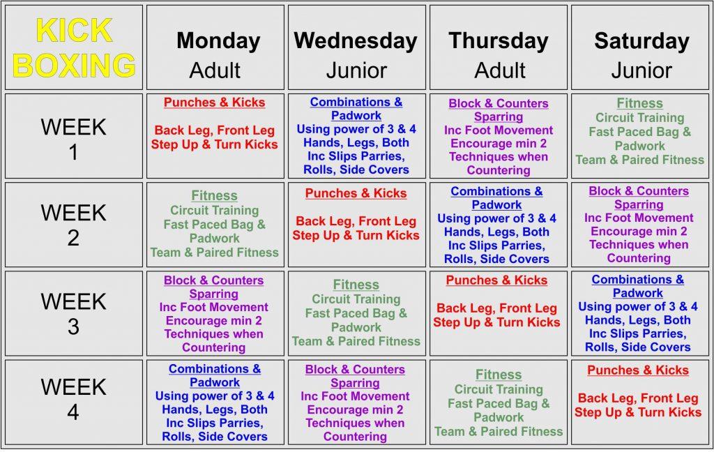 SESMA Teaching Timetable Kickboxing